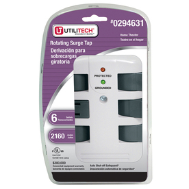 Utilitech 6-Outlet 2160 Joules General Use Surge Protector (Auto-Off Safety)