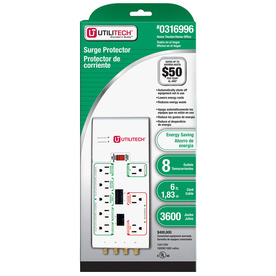Utilitech 8-Outlet 3600 Joules Home Office Surge Protector (Auto-Off Safety)