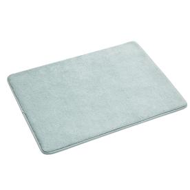 allen + roth 17-in x 24-in Teal Microfiber Memory Foam Bath Mat