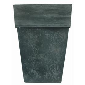 22-3/8-in H x 16-in W x 16-in D Oxidized Black Resin Indoor/Outdoor Planter