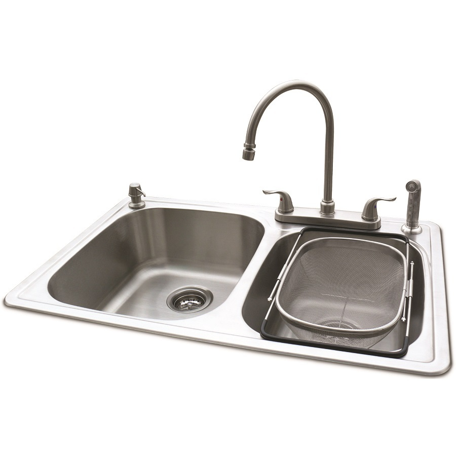 Shop american standard silver double basin drop in kitchen - Lowes kitchen sink faucet ...