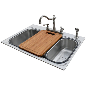 American Standard 22-in x 33-in Silver Single-Basin Stainless Steel Drop-In or Undermount 4-Hole Commercial Kitchen Sink