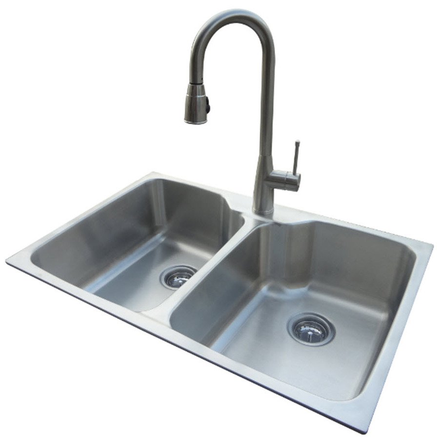 Shop american standard 20 gauge double basin drop in or undermount stainless steel kitchen sink - American standard kitchen sink ...