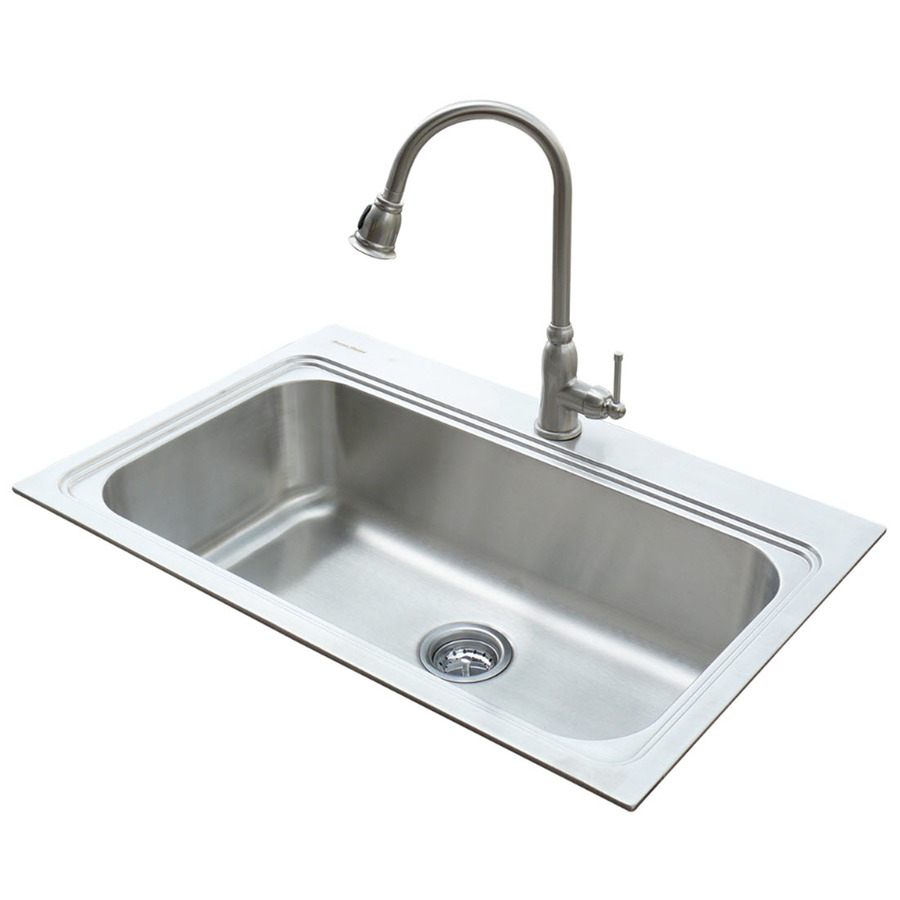 Shop american standard 22 in x 33 in silver single basin stainless steel drop in or undermount - American standard kitchen sink ...
