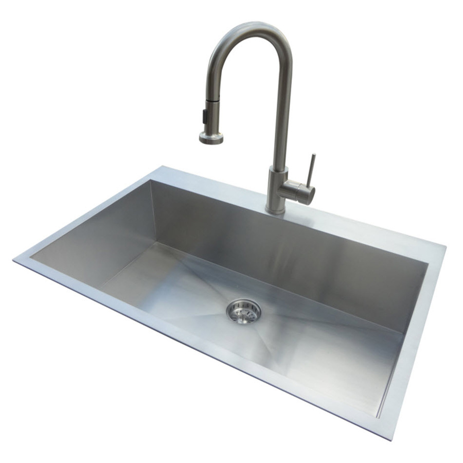 in or undermount stainless steel kitchen sink with faucet at