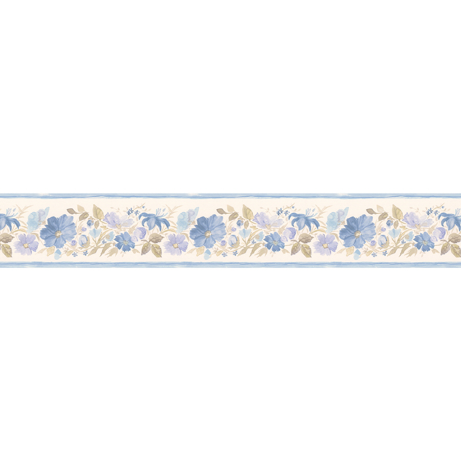 """Shop Norwall 5-1/4"""" Fluted Floral Prepasted Wallpaper ..."""