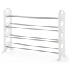neatfreak! 20 Pair White/Gray Metal Shoe Rack