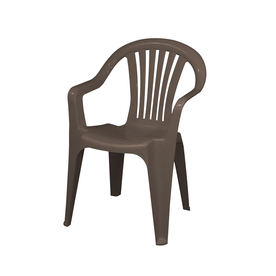 Gracious Living Brown Slat Seat Resin Stackable Patio Dining Chair