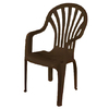 Gracious Living Earth Slat Seat Plastic Stackable Patio Dining Chair