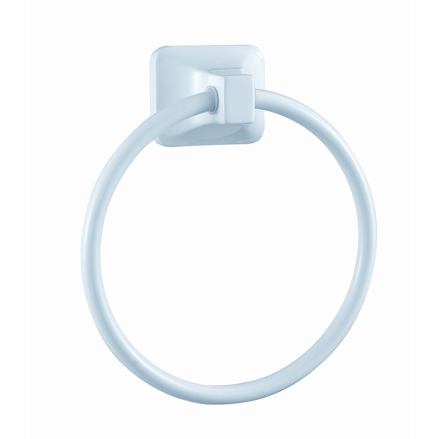 shop project source seton white wall mount towel ring at