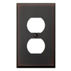 allen + roth 1-Gang Aged Bronze Standard Duplex Receptacle Metal Wall Plate