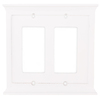 allen + roth Capitol 2-Gang White Decorator Rocker Composite Wood Wall Plate