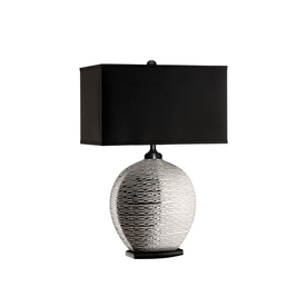 28.5-in 3-Way Silver Indoor Table Lamp with Fabric Shade