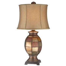 31-in 3-Way Antique Colorful and Warm Silver Indoor Table Lamp with Fabric Shade LWSKT12317