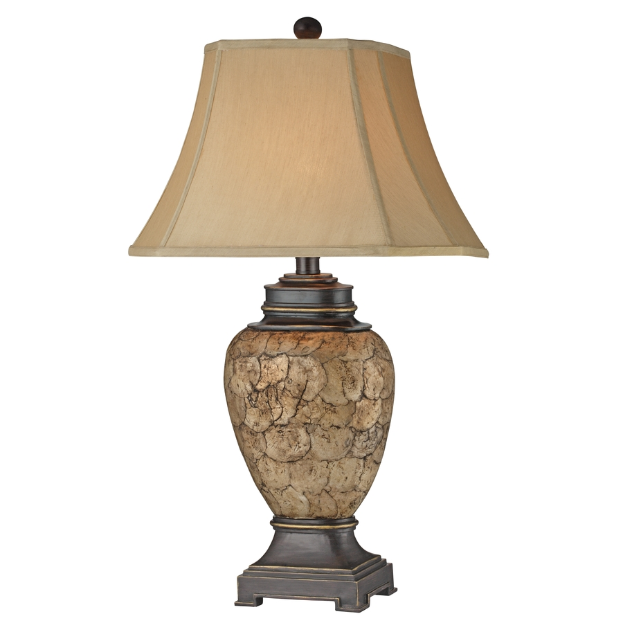 shop 32 in 3 way switch brown and ivory indoor table lamp with fabric. Black Bedroom Furniture Sets. Home Design Ideas