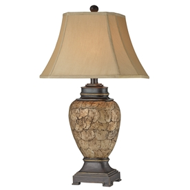 32-in 3-Way Brown and Ivory Indoor Table Lamp with Fabric Shade