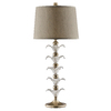 34.75-in Antique Silver Touch On/Off Indoor Table Lamp with Fabric Shade