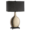 30-in Gold Glazed Ceramic and Matte Black Wood Touch On/Off Indoor Table Lamp with Fabric Shade