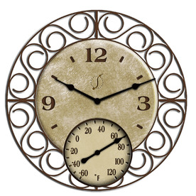Garden Treasures Indoor/Outdoor Oil-Rubbed Bronze Thermometer with Clock