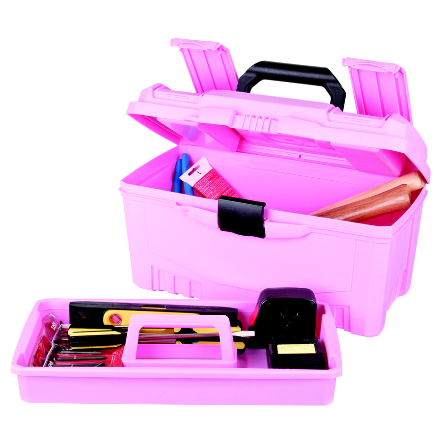 Shop Flambeau 17-in Lockable Red/Pink Plastic Tool Box at ...