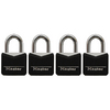 Master Lock 4-Pack 0.88-in Black Vinyl Aluminum Shackle Keyed Padlocks