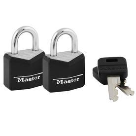 Master Lock 2-Pack 0.88-in Black Vinyl Aluminum Shackle Keyed Padlocks