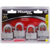 Master Lock 4-Pack 1.701-in Silver with Black Bumper Steel Keyed Padlock