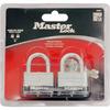 Master Lock 2-Pack 1.701-in Silver with Black Bumper Steel Keyed Padlock