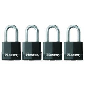Master Lock 4-Pack 1.93-in Black Steel Shackle Keyed Padlocks