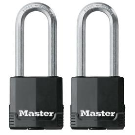 Master Lock 2-Pack 2.12-in Black Steel Shackle Keyed Padlocks