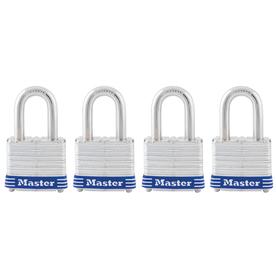 Master Lock 4-Pack 1.642-in W Steel Long Shackle Keyed Padlocks