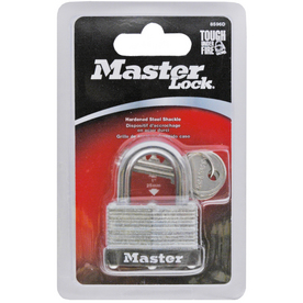 Master Lock 1.701-in Silver with Black Bumper Steel Keyed Padlock