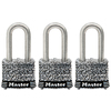 Master Lock 3-Pack 1.642-in W Steel Long Shackle Keyed Padlocks