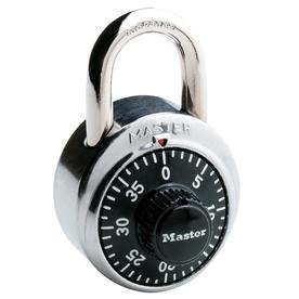 Master Lock 1.875-in Chrome with Black Dial Steel Shackle Combination Padlock