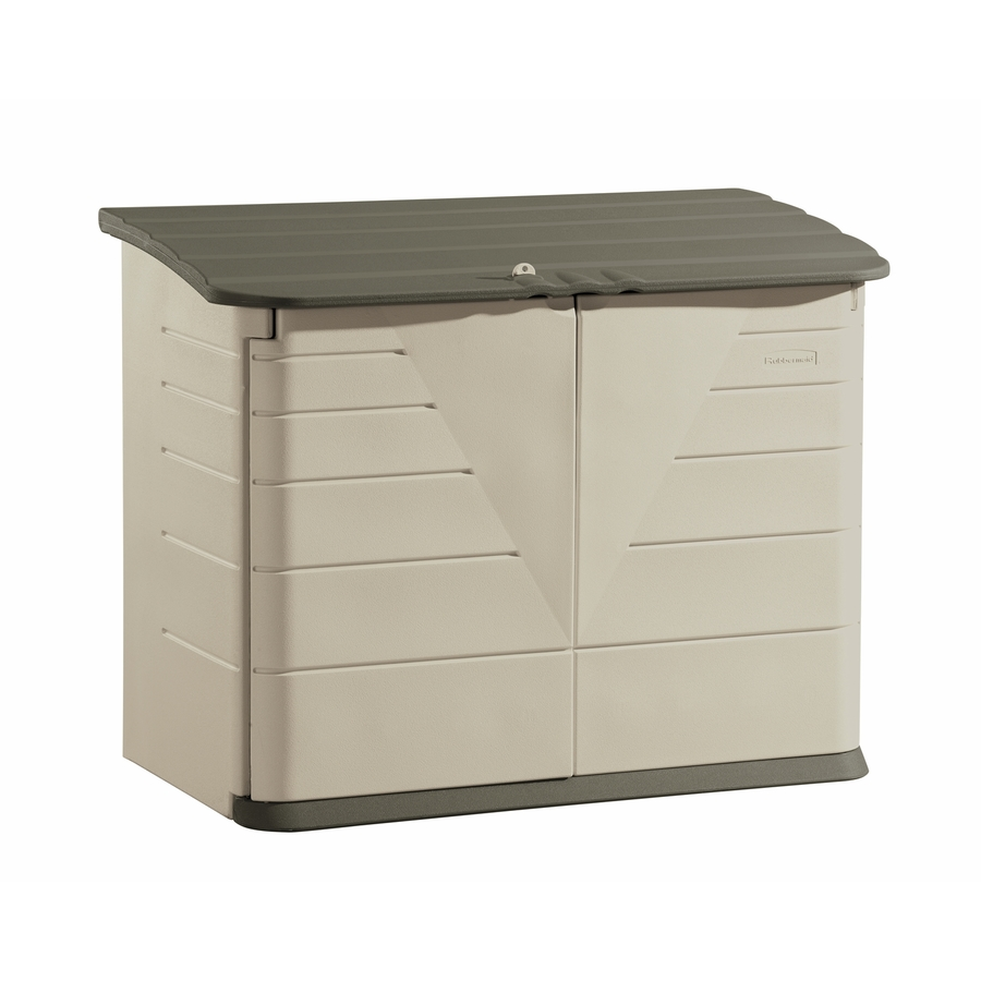 Shop rubbermaid olive sandstone resin outdoor storage shed for Table exterieur walmart