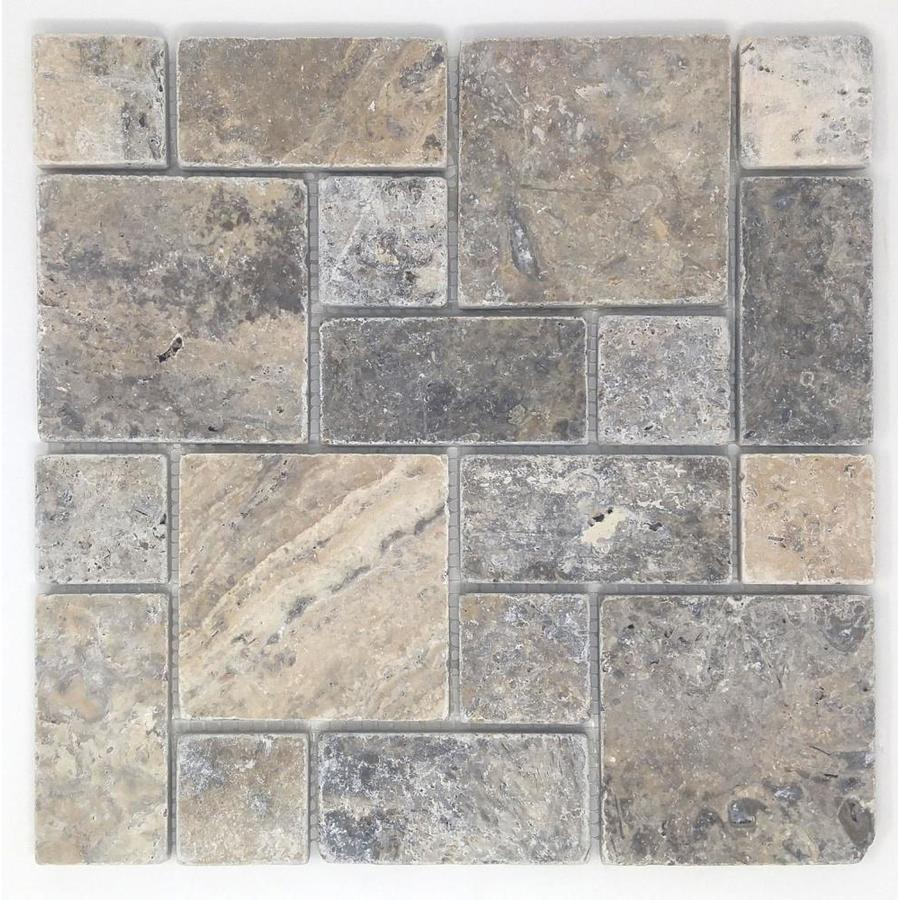 Shop Avenzo Silver Natural Stone Mosaic IndoorOutdoor Wall Tile