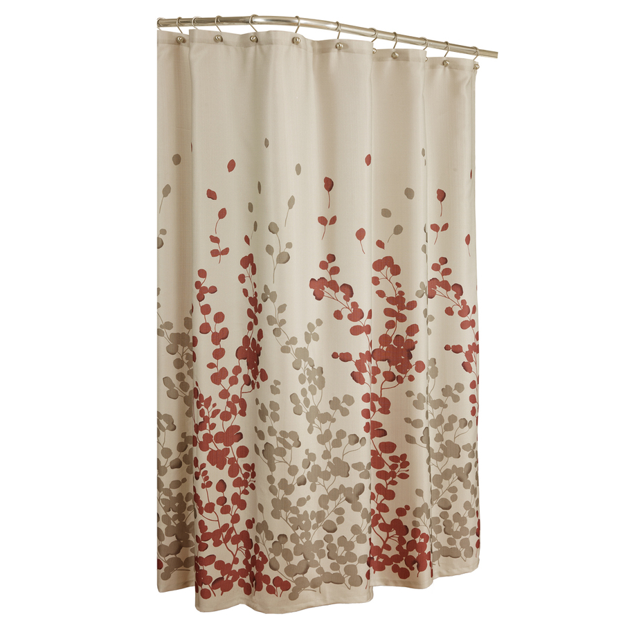 Shop Allen Roth Rosebury Polyester Print Red Choc Floral Shower Curtain At