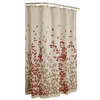 allen + roth Rosebury Polyester Print Red Choc Floral Shower Curtain