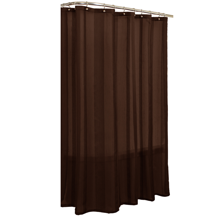 Shop Allen Roth Wessington Polyester Solid Brown Striped Shower Curtain At