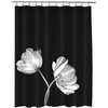 Tulip EVA/PEVA Photo Black Floral Shower Curtain