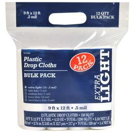 12-Pack Plastic Drop Cloths (Common: 9-ft x 12-ft; Actual 9-ft x 12-ft)