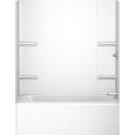 Aqua Glass Vista 60-1/2-in W x 31-in D x 58-in H High Gloss White Polystyrene Bathtub Wall Surround