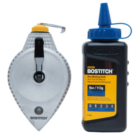 Bostitch 100-ft Die Case Metal Chalk Reel with 4 oz Blue Chalk