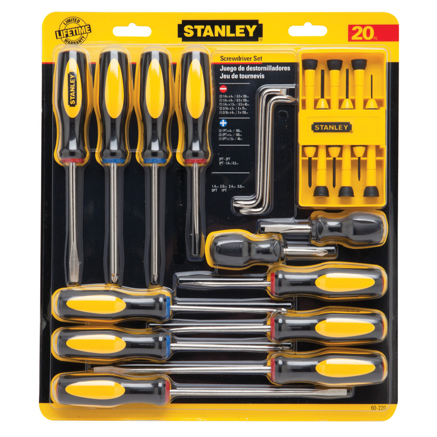 shop stanley 20 piece variety pack screwdriver set at. Black Bedroom Furniture Sets. Home Design Ideas