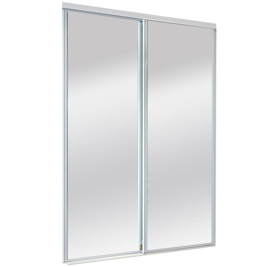 Shop Reliabilt White Mirrored Sliding Door Common 48 Inx 80 5 In Actual 48 Inx 80 Inches At