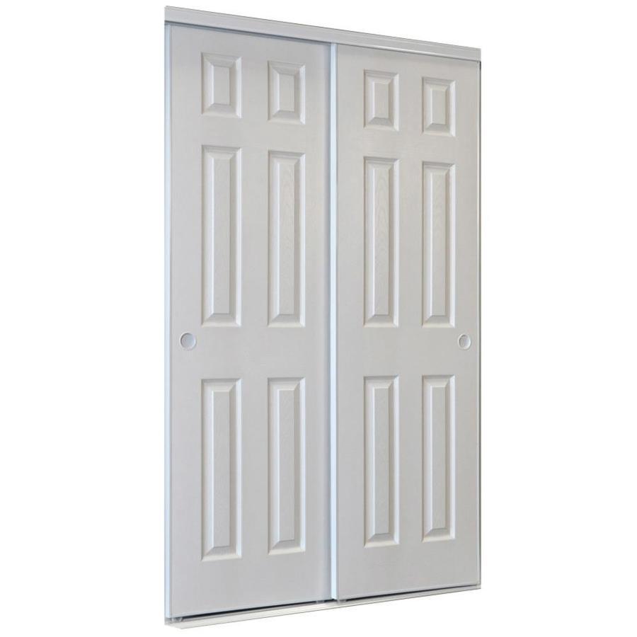Shop Reliabilt White 6 Panel Sliding Door Common 48 In X 80 5 In Actual 48 In X 80 In At