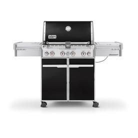 Weber Summit E-470 Black Porcelain Enamel 4-Burner (48,800-BTU) Liquid Propane Infrared Burner Gas Grill with Side Burner, Rotisserie Burner, and Integrated Smoker Box