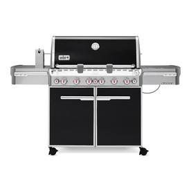 Weber Summit E-670 Black Porcelain Enamel 6-Burner (60,000-BTU) Liquid Propane Infrared Burner Gas Grill with Side Burner, Rotisserie Burner, and Integrated Smoker Box