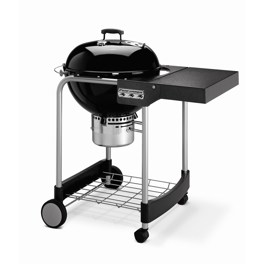shop weber performer silver 22 5 in black porcelain enameled kettle charcoal grill at. Black Bedroom Furniture Sets. Home Design Ideas