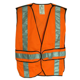 3M Large Orange Polyester High Visibility (Ansi Compliant) Enhanced Visibility (Reflective) Safety Vest